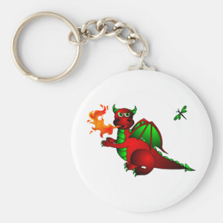 Red Dragon and Dragonfly Basic Round Button Key Ring