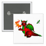 Red Dragon and Dragonfly Pinback Buttons
