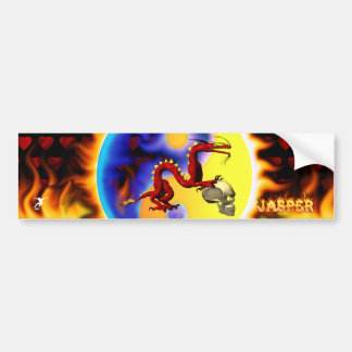 Red Dragon and Skull with Flame Name Design Car Bumper Sticker