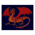 Red dragon art poster