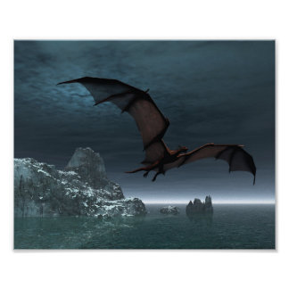 Red Dragon at Night Poster
