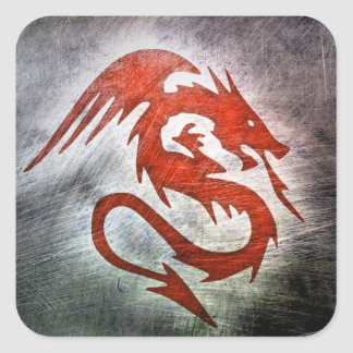 Red dragon black background square sticker