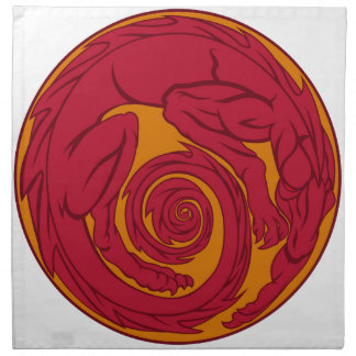 Red Dragon Circle Napkin