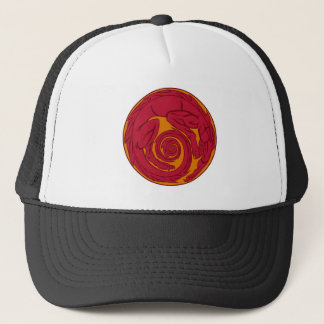 Red Dragon Circle Trucker Hat