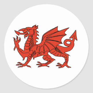 Red Dragon Classic Round Sticker
