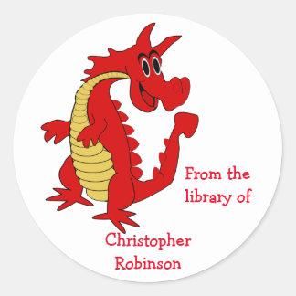 Red Dragon Custom Bookplate Round Sticker