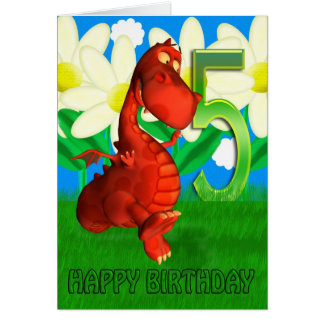 Red dragon dancing in the Garden Birthday Card