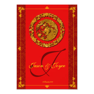Red dragon double happiness traditional RSVP cards