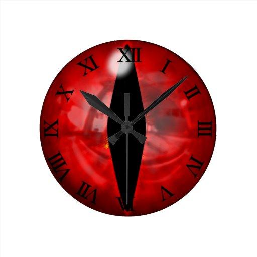 Red Dragon Eye Round Wall Clocks Zazzle