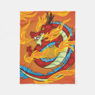 Red Dragon Fire and Flames Fleece Blanket