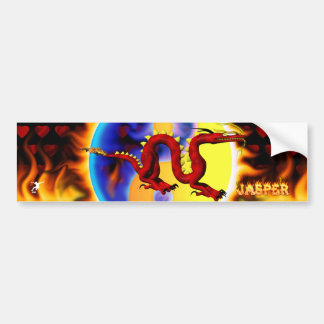 Red Dragon fire name design Bumper Sticker