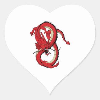 Red dragon MMA style design Heart Sticker