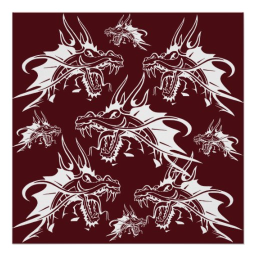 Red Dragon Mythical Creature Cool Fantasy Design Poster