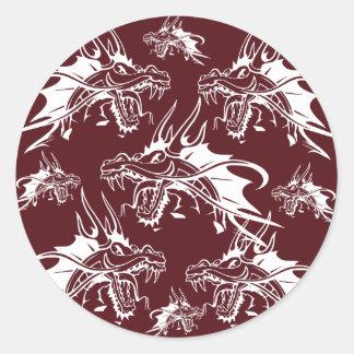 Red Dragon Mythical Creature Cool Fantasy Design Round Sticker