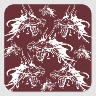 Red Dragon Mythical Creature Cool Fantasy Design Square Sticker