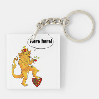 Red Dragon of Wales and Brave Lion of England Double-Sided Square Acrylic Key Ring