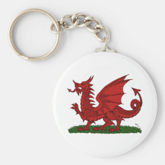 Red Dragon of Wales Basic Round Button Key Ring
