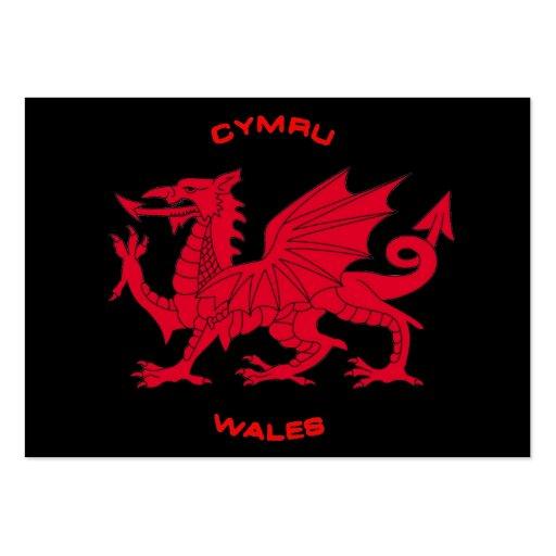 Red Dragon of Wales (Cymru), Black Back Business Card Templates