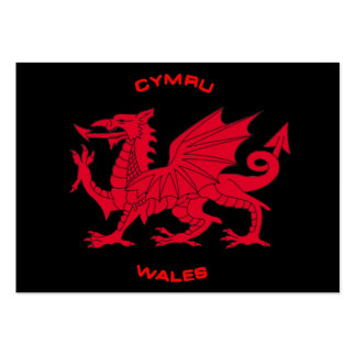 Red Dragon of Wales (Cymru), Black Back Pack Of Chubby Business Cards