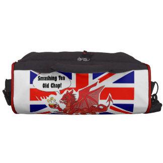 Red Dragon Of Wales in Tea Time Laptop Shoulder Bag