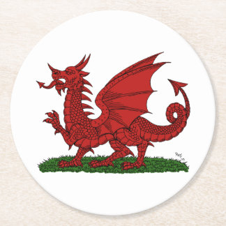 Red Dragon of Wales Round Paper Coaster
