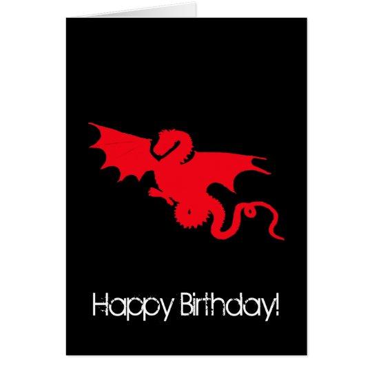 Red dragon on black Happy birthday Card