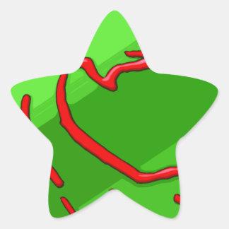 red dragon on green stripes star sticker