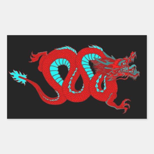 Red Dragon Rectangular Sticker