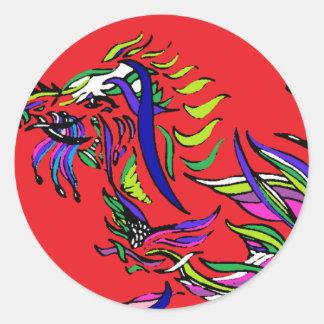 Red Dragon - Ribbon Series - Dragon Round Sticker