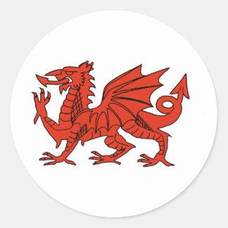Red Dragon Round Sticker