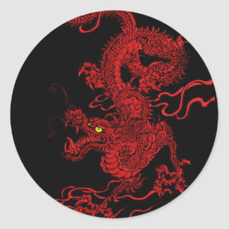 Red Dragon Round Sticker