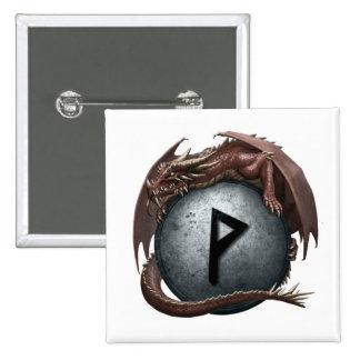 Red Dragon Rune Button - Wunjo