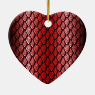 Red Dragon Scales Ceramic Heart Decoration