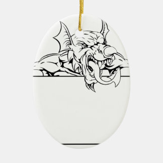 Red Dragon Sign Ceramic Oval Decoration