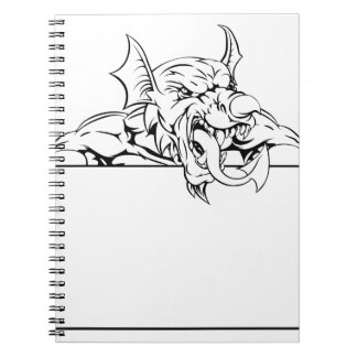 Red Dragon Sign Spiral Notebooks