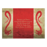 Red Dragon Wedding  Reception Card and Directions Business Card Templates