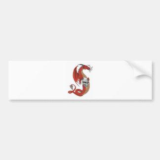 Red Dragon with Skull Bumper Sticker