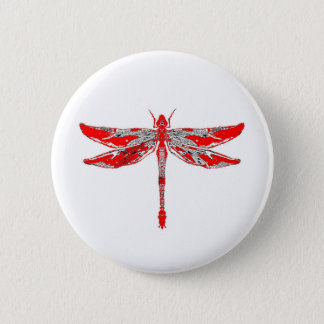 Red Dragonfly 6 Cm Round Badge