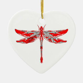 Red Dragonfly Christmas Ornament