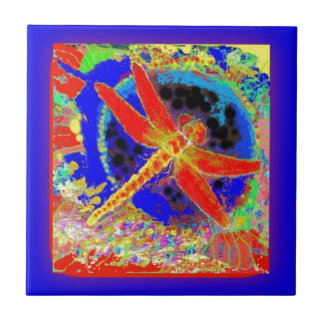 Red Dragonfly in Blue Lagoon by SHARLES Small Square Tile