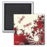 Red Dragonfly Magnet 2 Inch Square Magnet