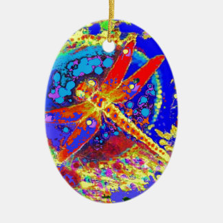 Red Dragonfly Splashing gifts Christmas Ornament
