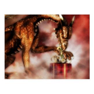 Red Dragons Christmas Postcard