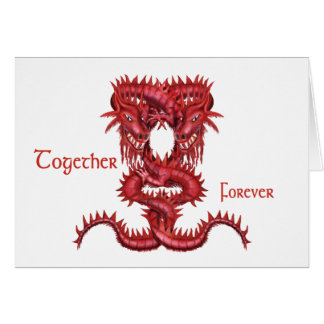 Red dragons entwined greeting card
