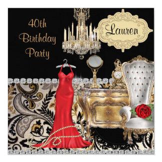 RED DRESS 40TH BIRTHDAY VINTAGE BLING  Invitation