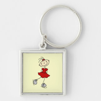 Red Dress Figure Skater Tshirts and Gifts Silver-Colored Square Key Ring