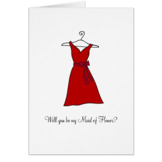 Red Dress, Will you be my Maid of Honor? Note Card