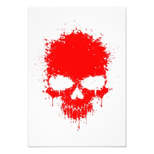 Red Dripping Splatter Skull Personalized Announcement