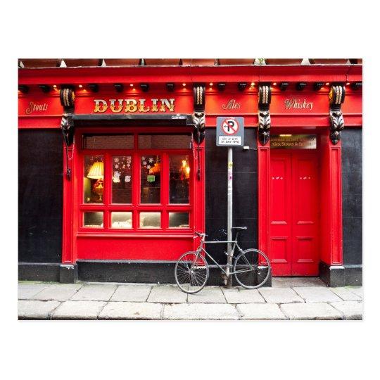 Red Dublin Pub Postcard