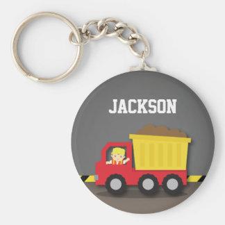 Red Dump Truck Construction Builder Boy Basic Round Button Key Ring